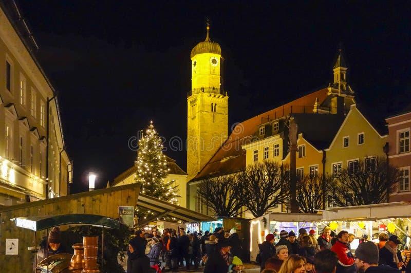 Kerstmismarkt in Weilheim, Beieren stock afbeelding