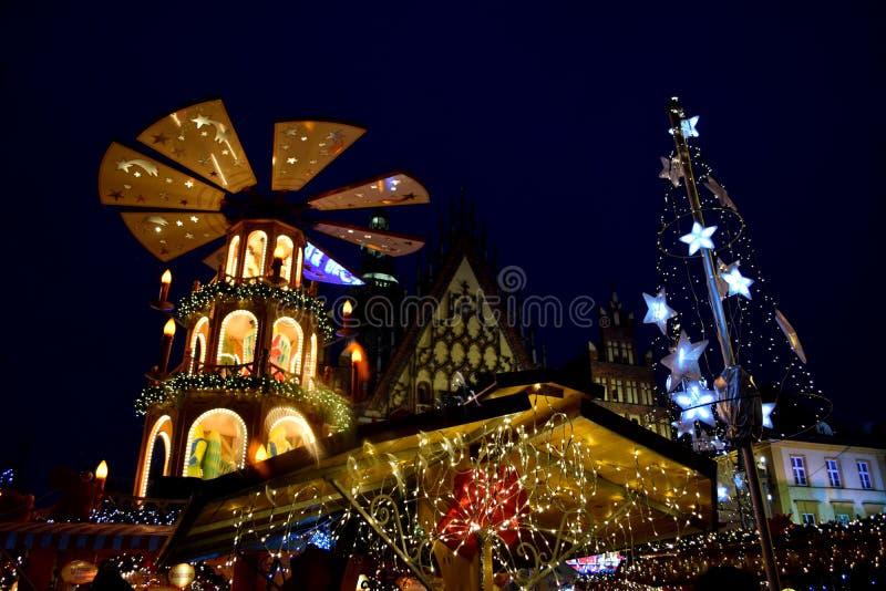 Kerstmismarkt in Wroclaw stock foto
