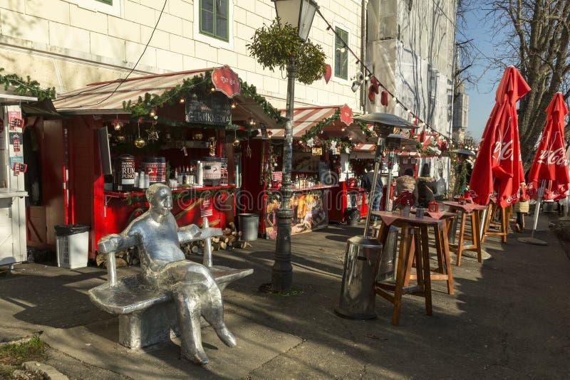 Kerstmismarkt in Zagreb, Kroatisch kapitaal royalty-vrije stock afbeelding