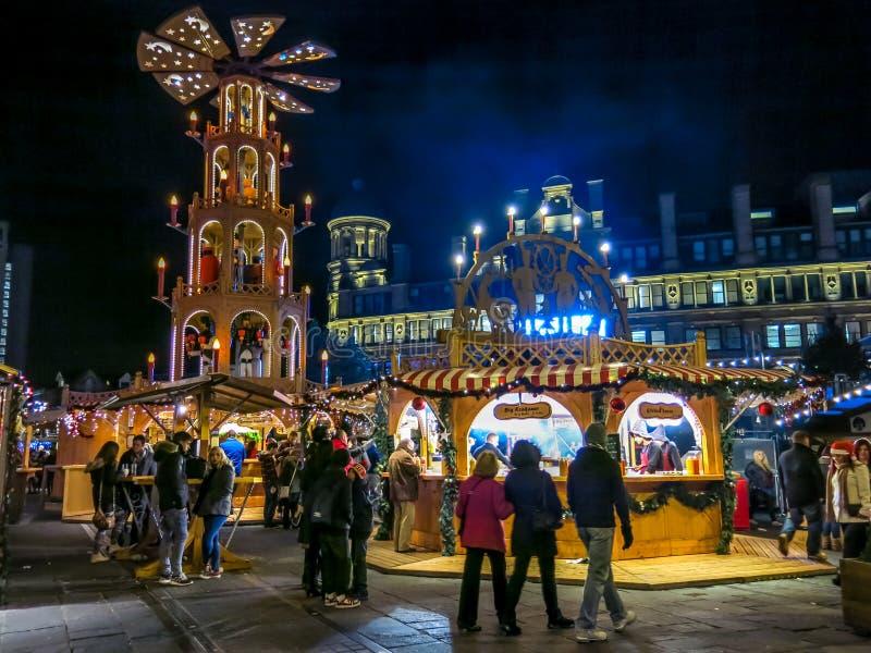 Kerstmismarkten van Manchester, Engeland royalty-vrije stock foto's