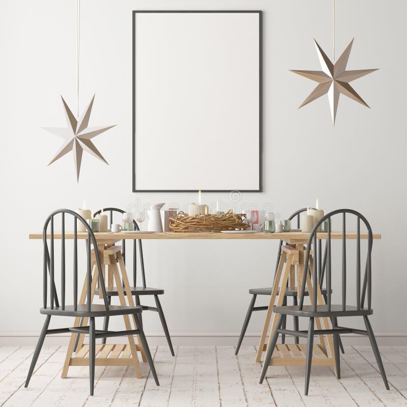 Kerstmismodel met een affiche op de achtergrond van een dinerlijst het 3d teruggeven stock illustratie