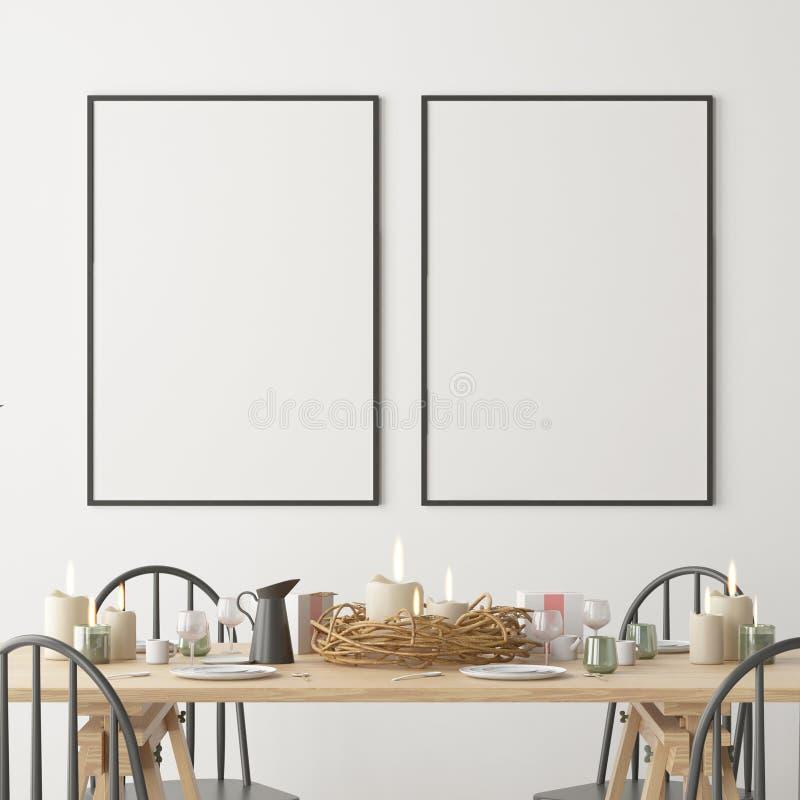 Kerstmismodel met een affiche op de achtergrond van een dinerlijst het 3d teruggeven royalty-vrije illustratie