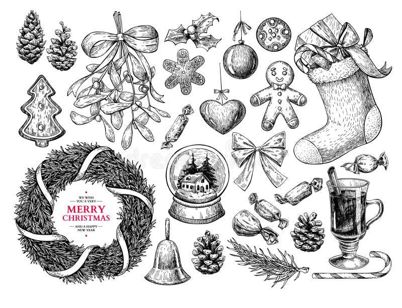 Kerstmisobjecten reeks Hand getrokken vectorillustratie Kerstmispictogrammen vector illustratie