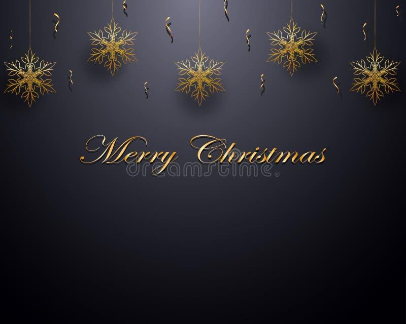 Kerstmisontwerp met gouden sneeuwvlokken en confettien stock illustratie