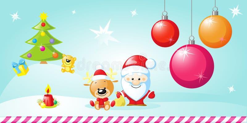 Kerstmisontwerp met Kerstmisballen, Santa Claus vector illustratie