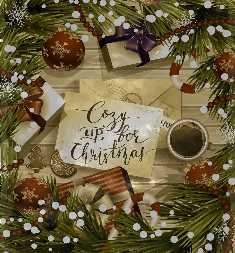 Kerstmisontwerp op hout vector illustratie