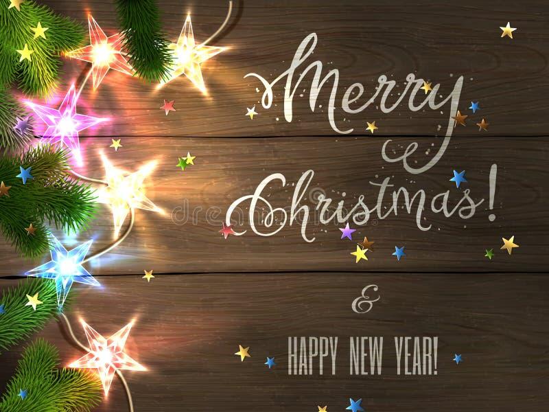 Kerstmisontwerp - Vrolijke Kerstmis en Gelukkig Nieuwjaar royalty-vrije illustratie