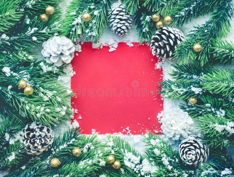 Kerstmisornament met spar, pijnboomtak, sneeuw en rode kaartachtergrond royalty-vrije stock foto
