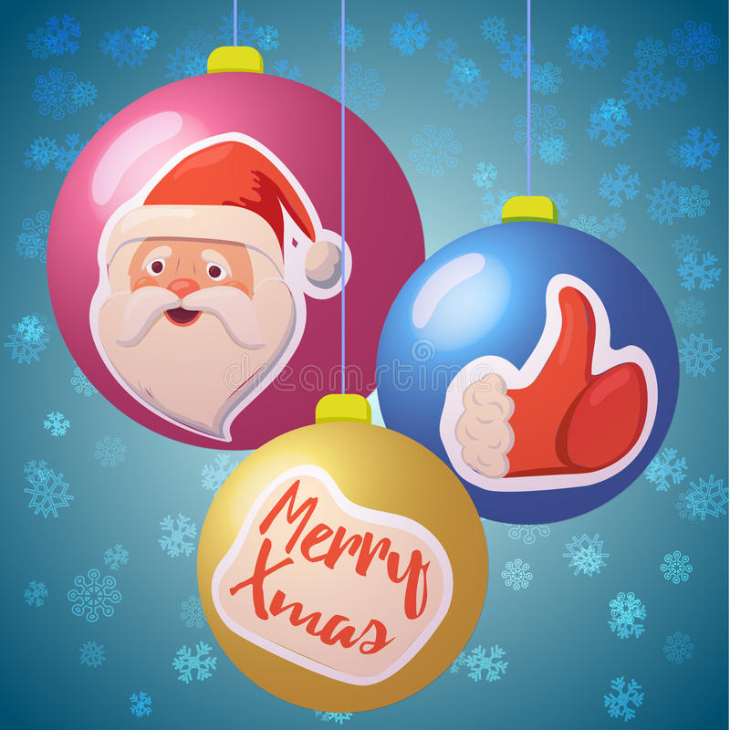 Kerstmisornamenten met stickers royalty-vrije illustratie