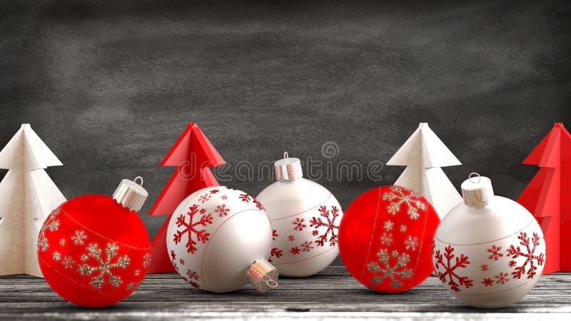 Kerstmisornamenten op een houten lijst met een bordachtergrond vector illustratie