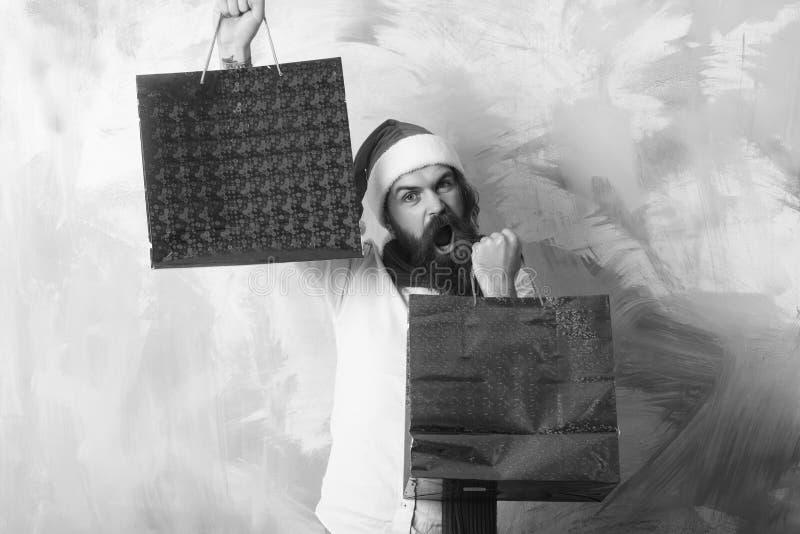 Kerstmispakket of het winkelen pak stock afbeeldingen