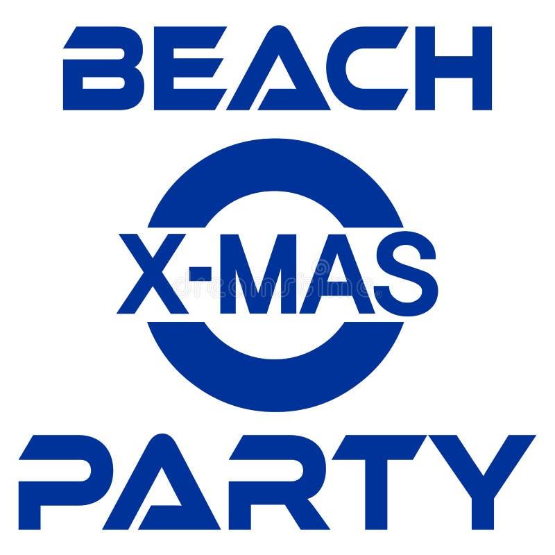 Kerstmispartij bij de kust van de strandbanner met palm en sneeuwman vector illustratie