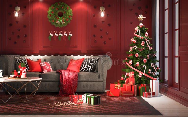 Kerstmispartij bij nacht, in woonkamer - decoratie op rode wa stock illustratie