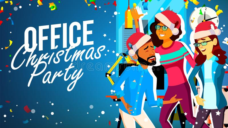 Kerstmispartij in Bureauvector Jonge Man, Vrouw Santa Hats Het glimlachen Het vieren van Nieuwjaar De illustratie van het beeldve royalty-vrije illustratie