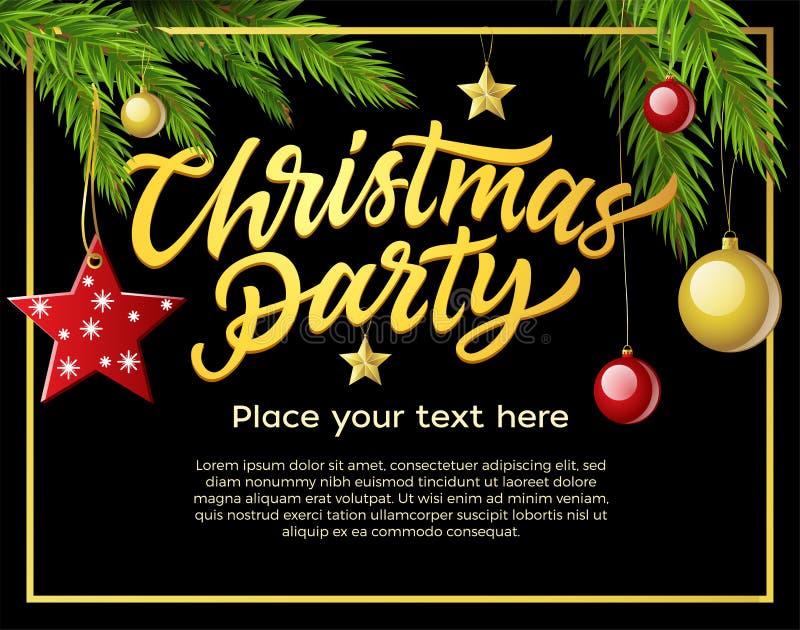 Kerstmispartij - moderne vectorillustratie met plaats voor tekst stock illustratie