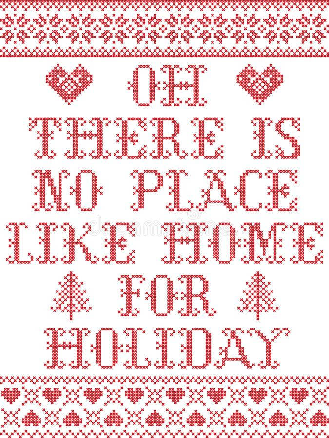 Kerstmispatroon is Er geen plaats zoals huis voor het vakantie naadloze die patroon door de Noordse cultuur feestelijke winter wo royalty-vrije illustratie