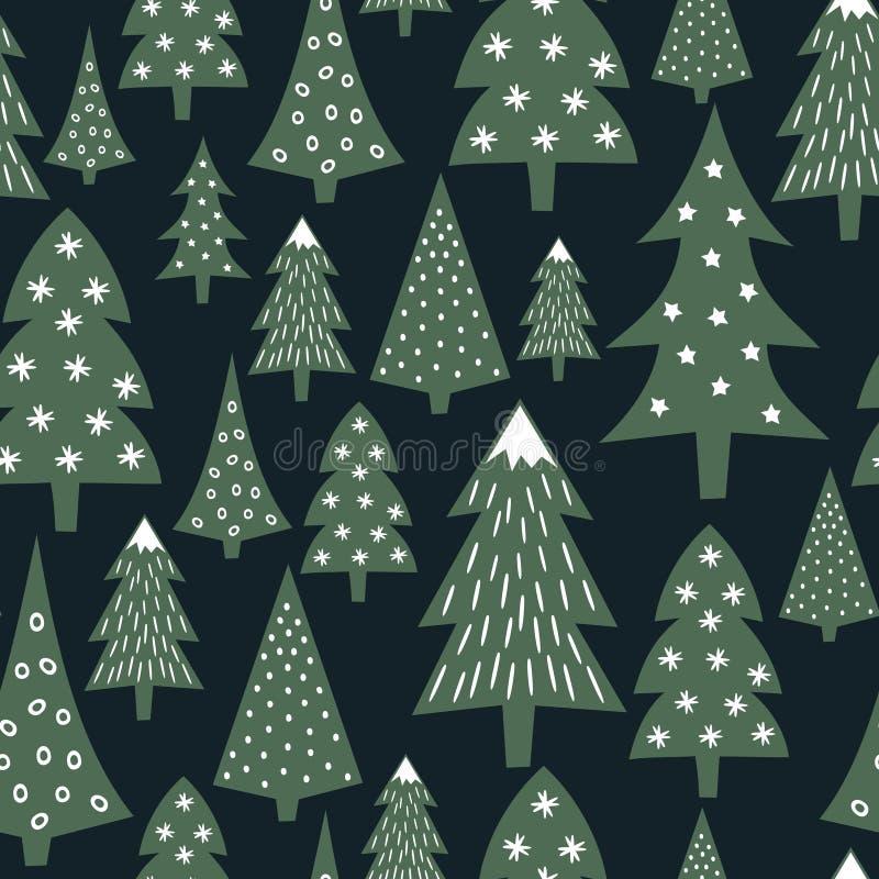 Kerstmispatroon - gevarieerde Kerstmisbomen en sneeuwvlokken Eenvoudige naadloze Gelukkige Nieuwjaarachtergrond stock illustratie