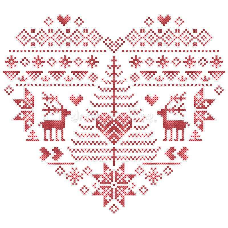 Kerstmispatroon in hartvorm met rendier, Kerstboom op witte achtergrond royalty-vrije illustratie