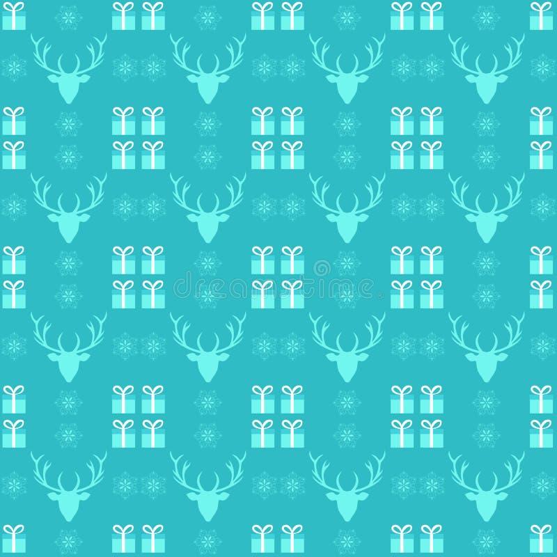 Kerstmispatroon met herten, sneeuwvlok en heden stock illustratie