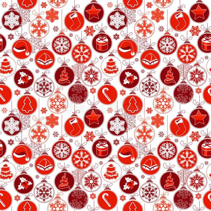 Kerstmispatroon met uitstekende ballen stock illustratie