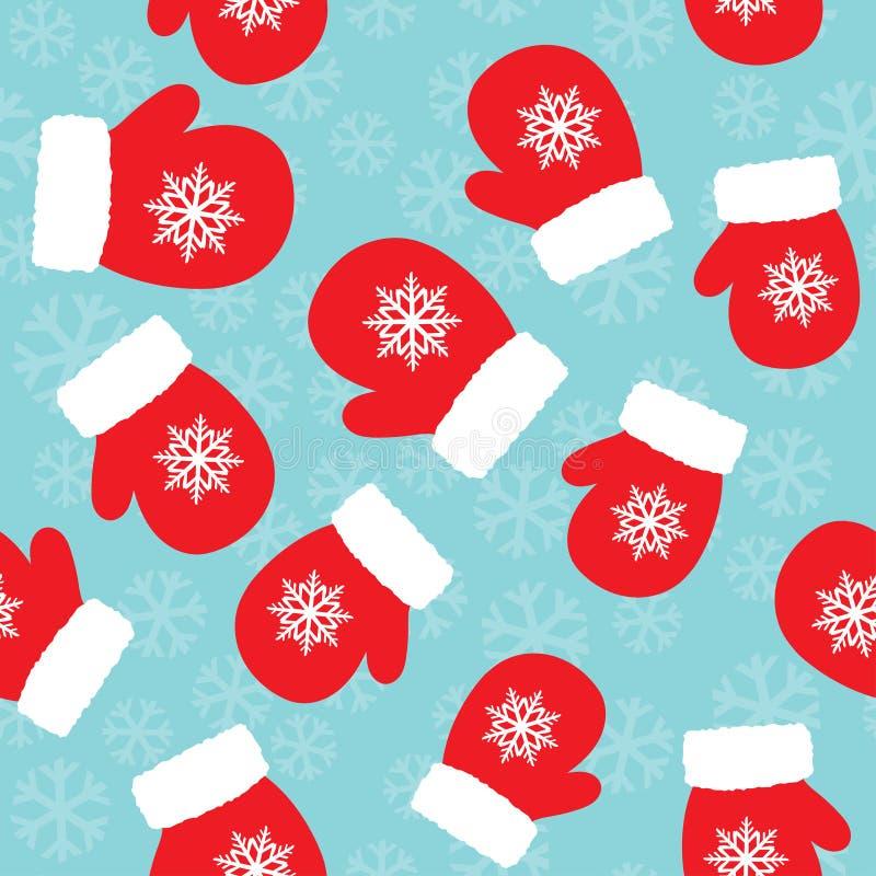 Kerstmispatroon met vuisthandschoenen vector illustratie