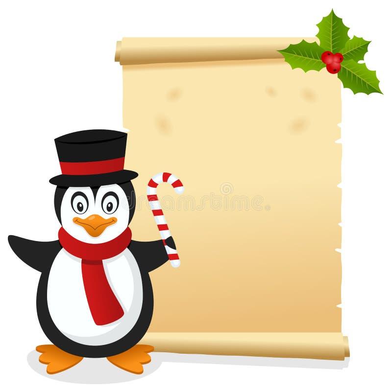Kerstmisperkament met Grappige Pinguïn vector illustratie