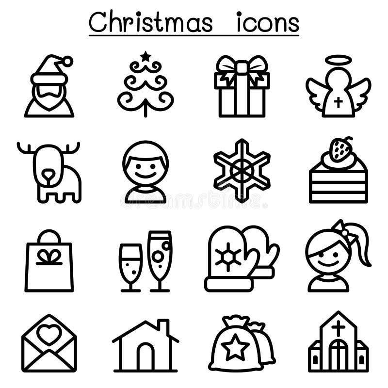 Kerstmispictogram in dunne lijnstijl die wordt geplaatst royalty-vrije illustratie