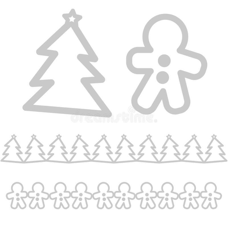 Kerstmispictogrammen - boom en peperkoekmens vector illustratie