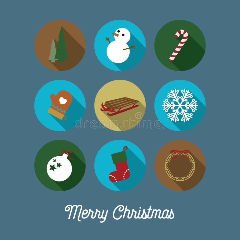 Kerstmispictogrammen/Kerstkaart royalty-vrije illustratie