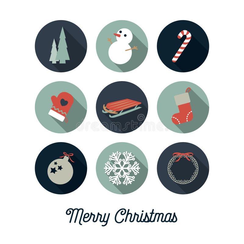 Kerstmispictogrammen/Kerstkaart stock illustratie