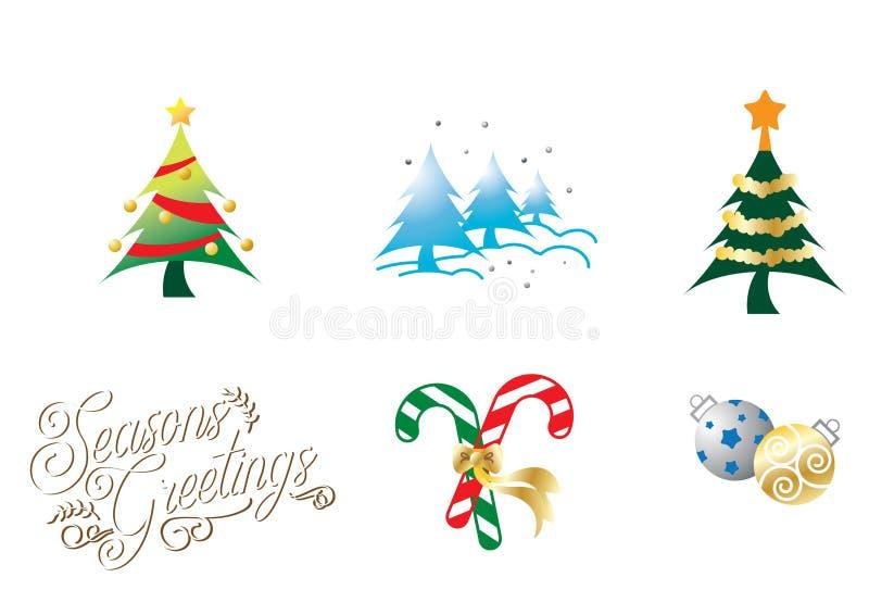 Kerstmispictogrammen in kleuren volledige editable resizable vector royalty-vrije illustratie