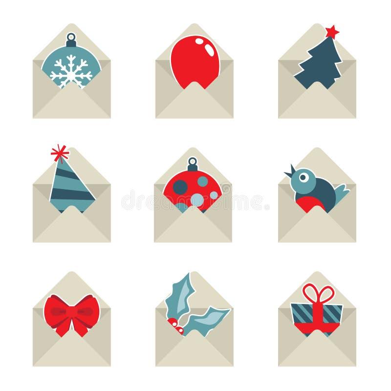 Kerstmispictogrammen van de post stock illustratie