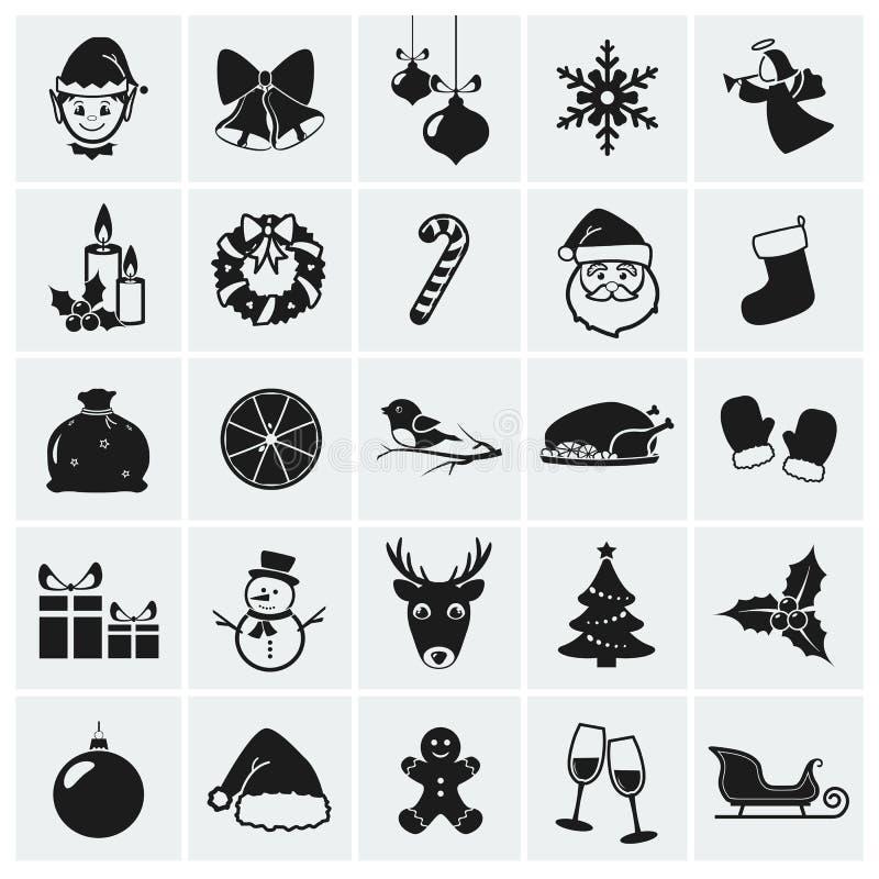 Kerstmispictogrammen. Vectorillustratie. royalty-vrije illustratie