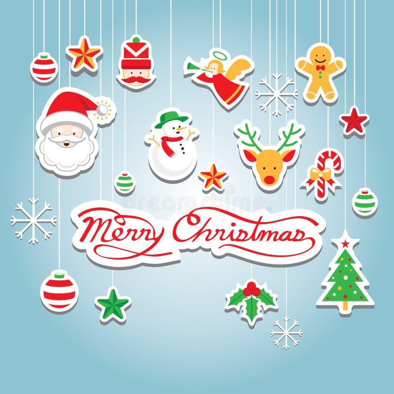 Kerstmispictogrammen: Voorwerpen, Hangende Decoratie royalty-vrije illustratie