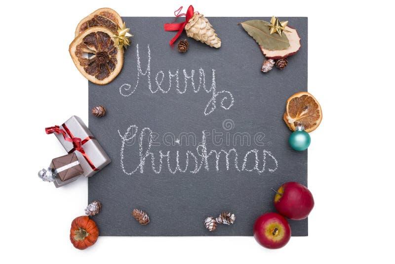 Kerstmisplaat van lei royalty-vrije stock foto's