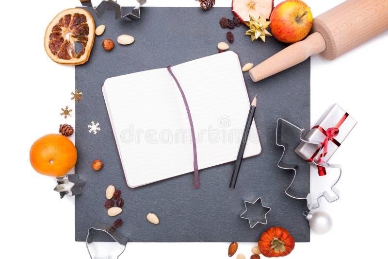 Kerstmisplaat van lei stock afbeelding