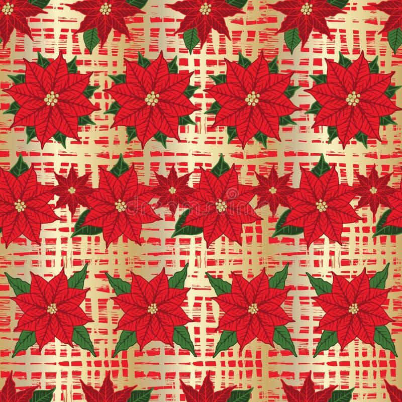 Kerstmispoinsettia en de gouden achtergrond van het textuur naadloze bloemenpatroon Vector stock illustratie