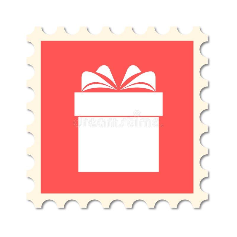 Kerstmispostzegel, giftdoos vector illustratie