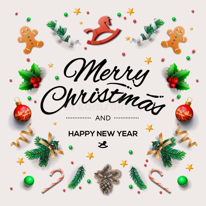 Kerstmisprentbriefkaar met kalligrafische seizoenwensen en samenstelling van feestelijke elementen zoals koekjes, suikergoed, bes royalty-vrije illustratie