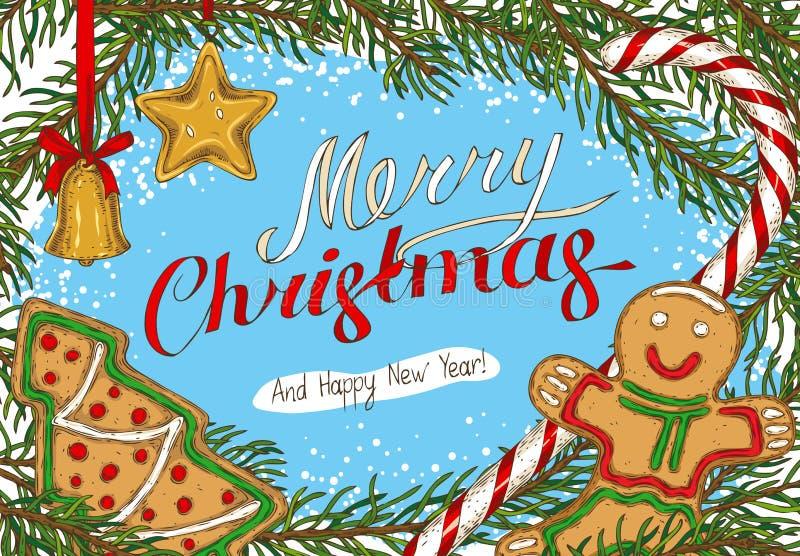 Kerstmisprentbriefkaar met Spartak en Speelgoed stock illustratie