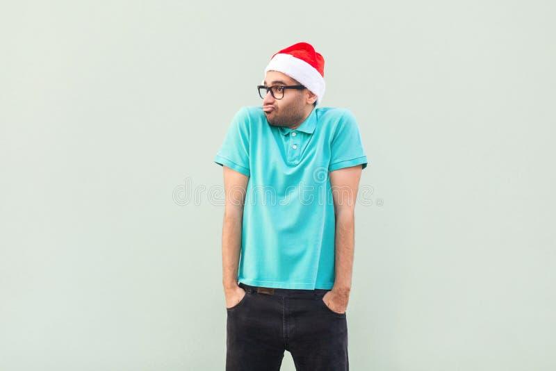 Kerstmisprobleem Het vliegen van gedachten Nadenkende gebaarde busine stock afbeelding