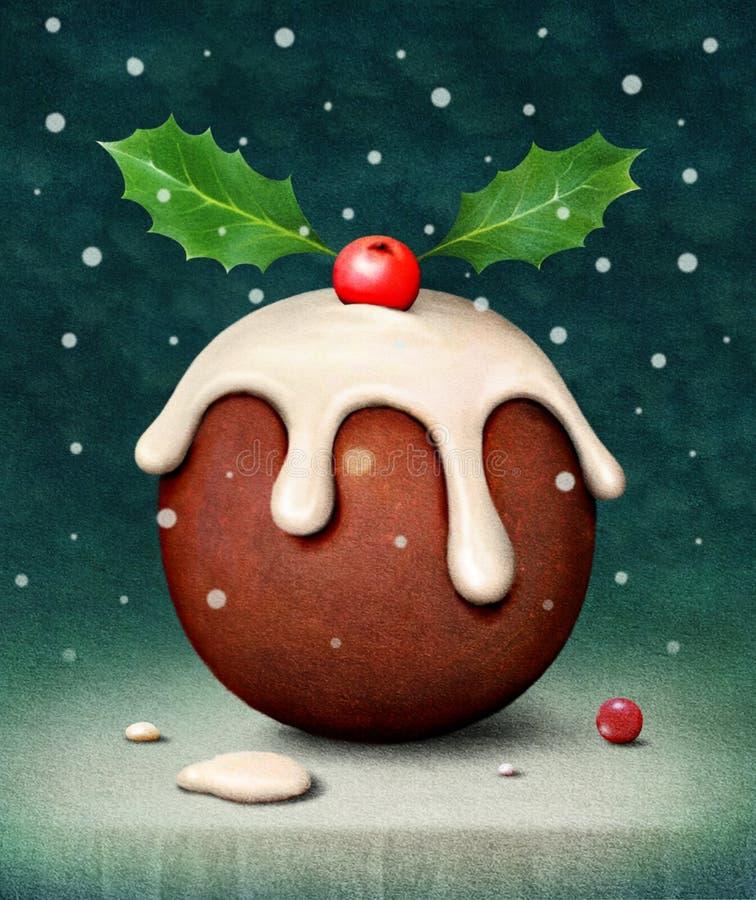 Kerstmispudding stock illustratie