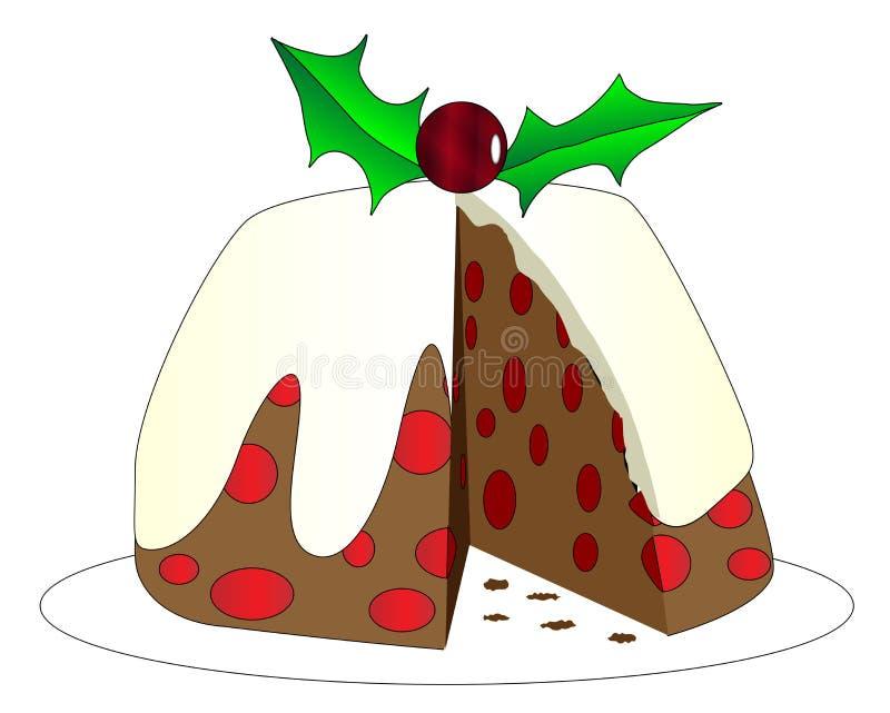 Kerstmispudding met Plak het Missen royalty-vrije illustratie
