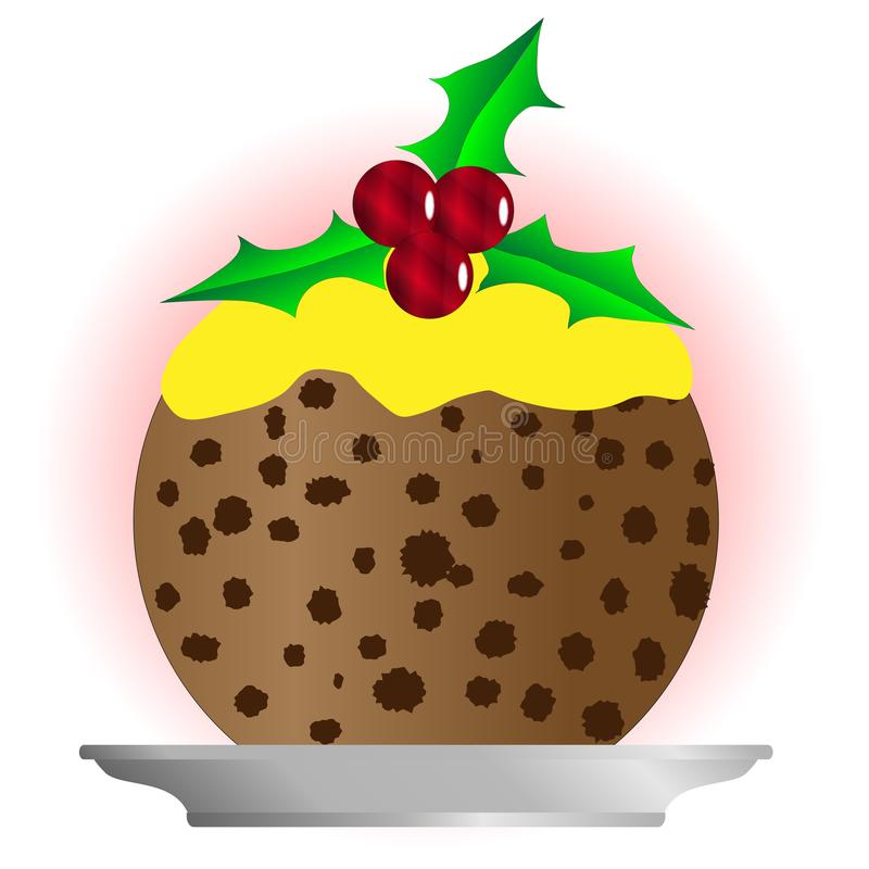 Kerstmispudding met Vla en Holly Sprig stock illustratie