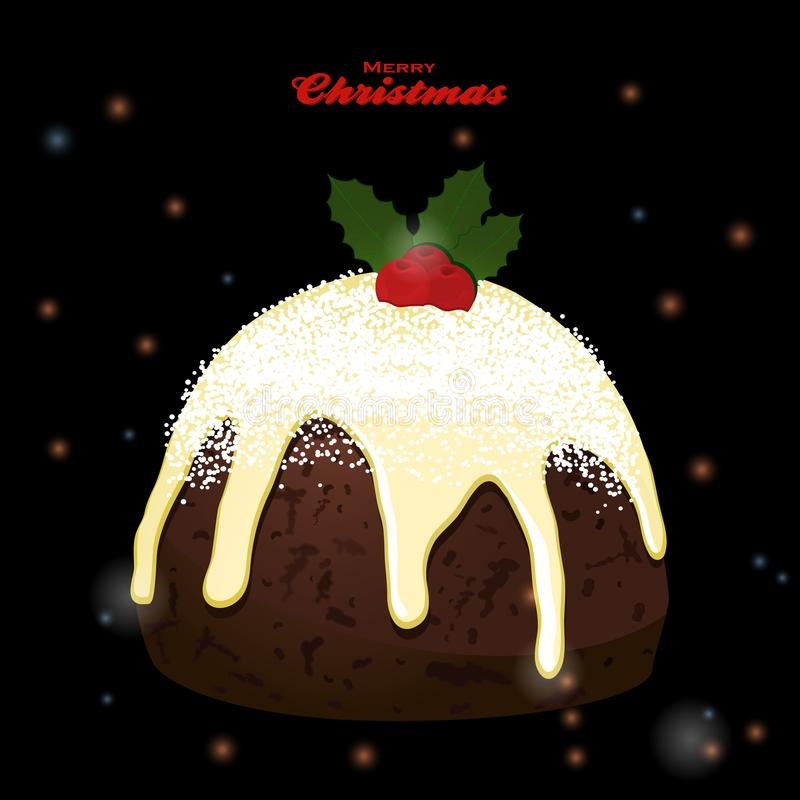 Kerstmispudding op zwarte gloeiende achtergrond stock illustratie