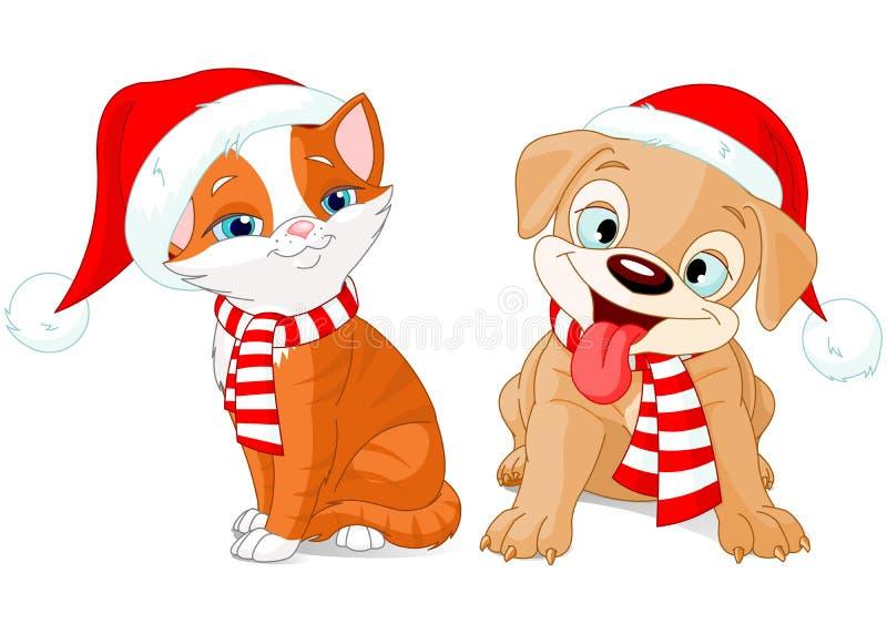 Kerstmispuppy en Katje royalty-vrije illustratie