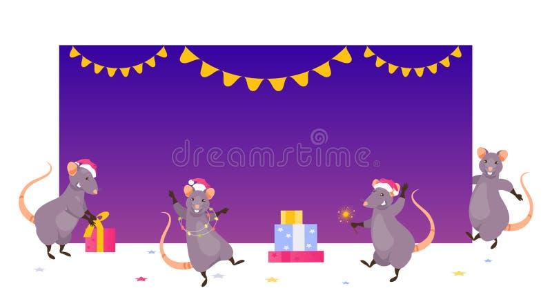 Kerstmisratten bij de lege banner stock illustratie