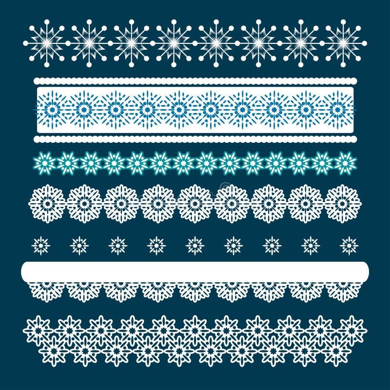 Kerstmisreeks Grenzen met Sneeuwvlokken vector illustratie