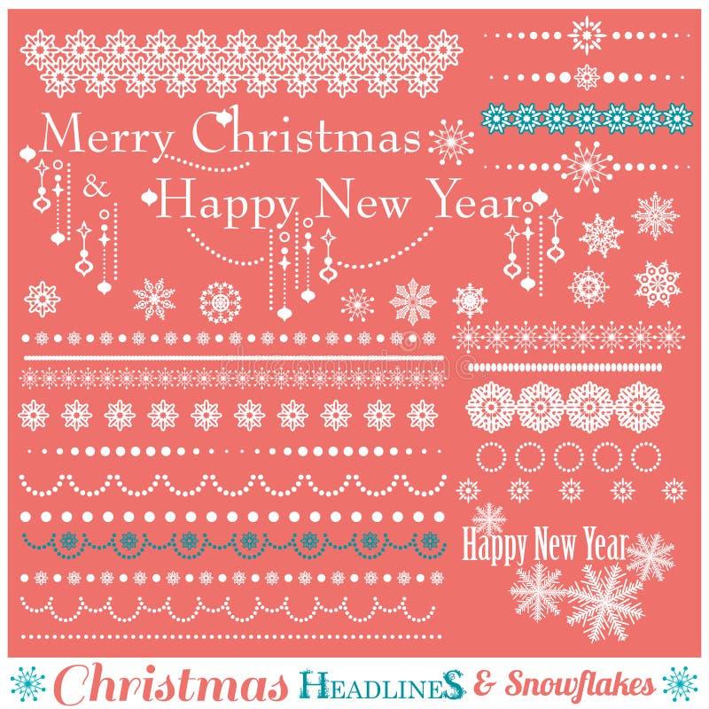 Kerstmisreeks Grenzen met Sneeuwvlokken royalty-vrije illustratie