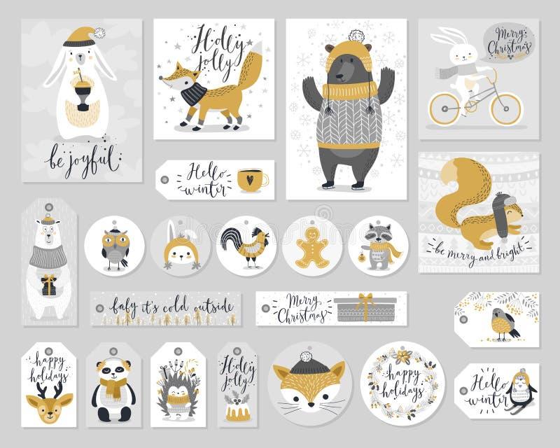 Kerstmisreeks, hand getrokken stijl - kalligrafie, dieren en andere elementen Vector illustratie royalty-vrije illustratie